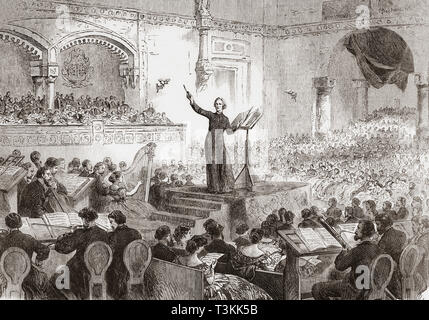 Franz Liszt conducting the performance of his new oratorio, The Legend of St. Elizabeth, in Pest, Hungary in 1865. Franz Liszt, 1811 – 1886.  Hungarian composer, virtuoso pianist, conductor, music teacher, arranger, organist, writer, philanthropist,  Hungarian nationalist and a Franciscan tertiary.  From The Illustrated London News, published 1865. - Stock Photo