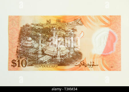 Currency of the Sultanate of Brunei (ringgit, reverse side of note) - Stock Photo