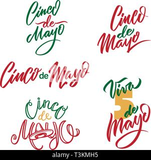 Cinco de Mayo typography Set. 5 of May on Spanish holiday vector calligraphy. Cinco de Mayo holiday banner. Mexican holiday lettering isolated on - Stock Photo