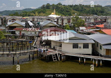 Kampong (Kampung) Ayer water village on Brunei River, Bandar Seri Begawan, Sultanate of Brunei - Stock Photo