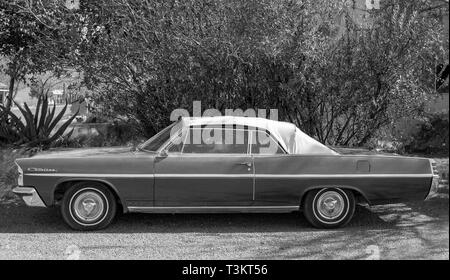 1963 Pontiac Catalina classic car parked in a street of Alpine, Texas. - Stock Photo