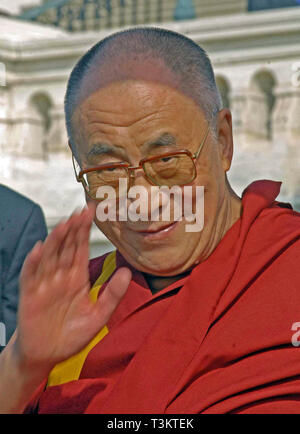 Washington DC, USA, October 17, 2007   His Holiness The  14th Dalia Lama Lhamo Dondrub of Tibet Presides over event on West Front of the US Capitol. - Stock Photo