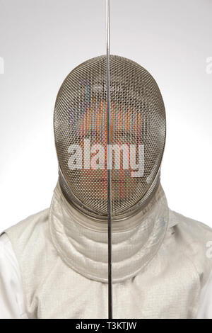 Close-up wearing mask of Team USA Wheelchair Fencer, 2019 © Katharine Andriotis - Stock Photo