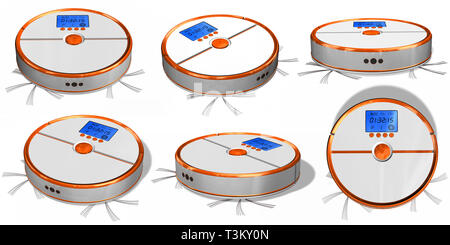Set of automated robotic vacuum cleaner isolated on white. - Stock Photo