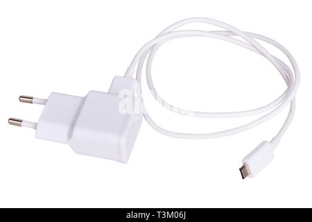 Charger cord and plug for gadget isolated on white. USB cable connector cord - Stock Photo