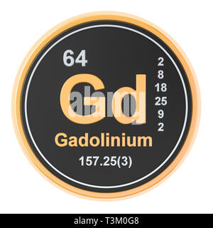 Gadolinium Gd chemical element. 3D rendering isolated on white background - Stock Photo