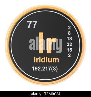 Iridium Ir chemical element. 3D rendering isolated on white background - Stock Photo
