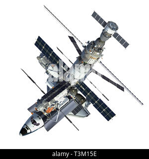Space Shuttle And Space Station On White Background. 3D Illustration. - Stock Photo