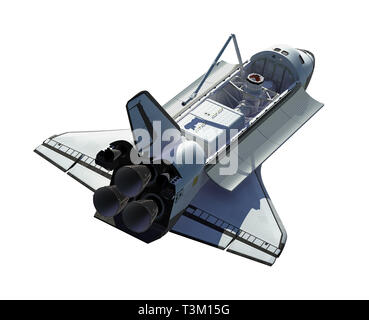 Space Shuttle Isolated On White Background. 3D Illustration. - Stock Photo