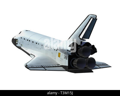 Space Shuttle Isolated On White Background. 3D Illustration - Stock Photo
