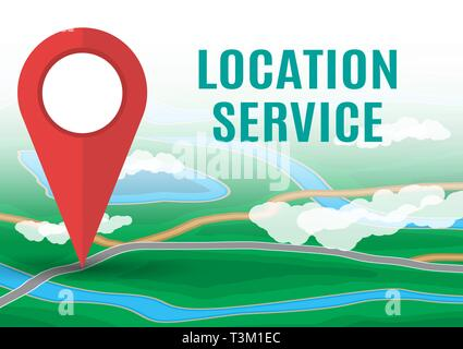 City suburban map and red route pin. Abstract generic map with roads, buildings, parks, river, lake. GPS and navigation. Vector illustration in flat s - Stock Photo