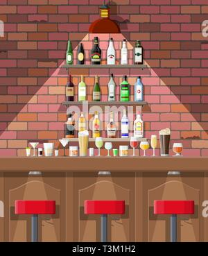 Drinking establishment. Interior of pub, cafe or bar. Bar counter, chairs and shelves with alcohol bottles. Glasses and lamp. Wooden and brick decor.  - Stock Photo