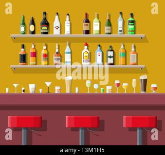 Drinking establishment. Interior of pub, cafe or bar. Bar counter, chairs and shelves with alcohol bottles. Glasses and lamp. Vector illustration in f - Stock Photo