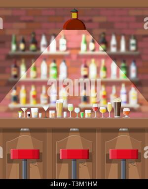 Drinking establishment. Interior of pub, cafe or bar. Bar counter, chairs and shelves with alcohol bottles. Glasses, lamp. Wooden and brick decor. Blu - Stock Photo