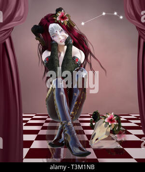 Zodiac series - Aries as a beautiful woman with mask and a goat skull - Stock Photo
