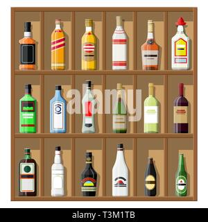Alcohol drinks collection. Bottles on shelf. Vodka champagne wine whiskey beer brandy tequila cognac liquor vermouth gin rum absinthe sambuca cider bo - Stock Photo