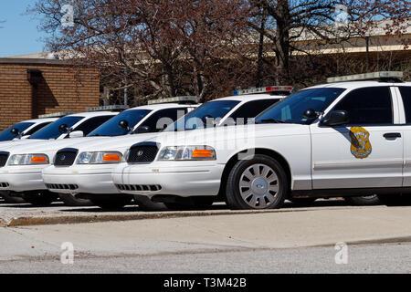 Indianapolis - Circa April 2019: Fleet of Indianapolis Metropolitan Police Department cars. IMPD has jurisdiction in Marion County I - Stock Photo