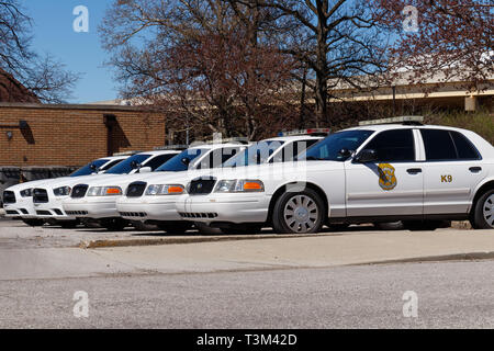 Indianapolis - Circa April 2019: Fleet of Indianapolis Metropolitan Police Department cars. IMPD has jurisdiction in Marion County II - Stock Photo