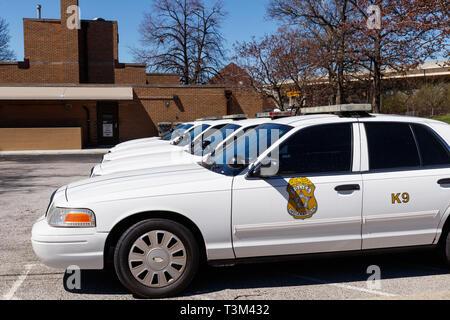 Indianapolis - Circa April 2019: Fleet of Indianapolis Metropolitan Police Department cars. IMPD has jurisdiction in Marion County III - Stock Photo