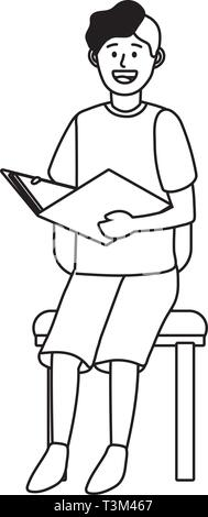 man sitting on a chair avatar cartoon character black and white vector illustration graphic design - Stock Photo