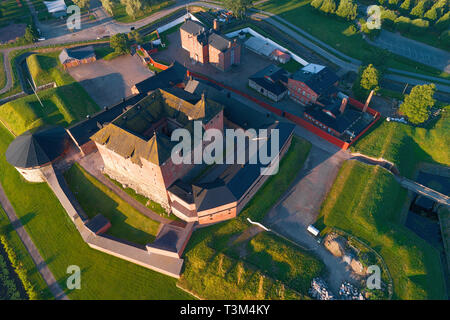 Above the Hameenlinna fortress on a July morning. Finland - Stock Photo