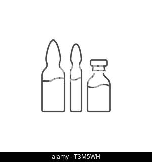 Ampoule and Vial Related Vector Line Icon Set. Drugs. Isolated on White Background. Editable Stroke. - Stock Photo
