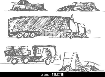 children's drawings cars - Stock Photo