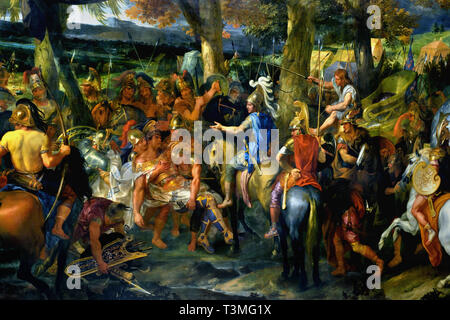 Alexander the Great and Porus 1665–1673 Charles LE BRUN 1619 – 1690  France, French.( Alexander shows magnanimity to the Indian king Porus, whom he has just defeated, by allowing him to keep his kingdom.) - Stock Photo