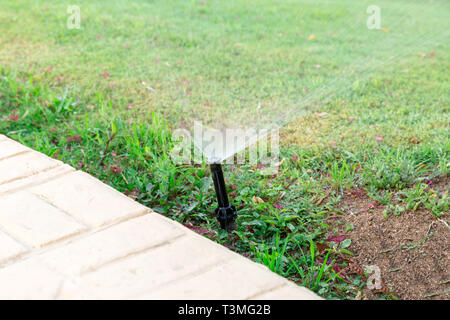 Sprinkler in garden watering the lawn. Automatic watering lawns concept. - Stock Photo