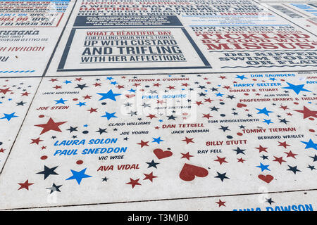 BLACKPOOL, UK - October 21, 2016: The comedy carpet one of Britain's largest pieces of public art immortalising the UK's  favourite comedians and comi - Stock Photo