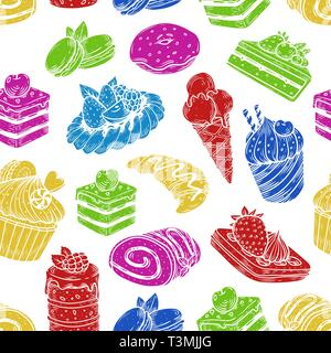 Sketch of sweets and bakery in seamless pattern - Stock Photo