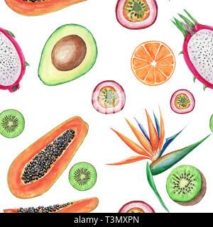 Watercolor tropical fruits seamless pattern. Hand painted illustrations: avocado, papaya, orange, kiwi, maracuja and strelitzia on White background. - Stock Photo
