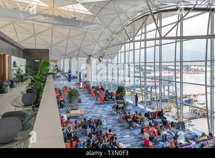 Departure lounges at Hong Kong International Airport, Chep Lak Kok, Hong Kong, China - Stock Photo