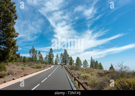 Cyclist riding a road bike up on the TF-21 up Mount Teide in beautiful weather, Tenerife - Stock Photo