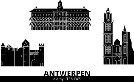 Antwerp Belgium City Skyline Black And White Silhouette With Reflections Vector Illustration Simple Flat Concept For Tourism Presentation Banner Stock Vector Image Art Alamy