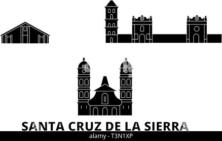 Bolivia, Santa Cruz De La Sierra flat travel skyline set. Bolivia, Santa Cruz De La Sierra black city vector illustration, symbol, travel sights - Stock Photo