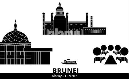 Brunei flat travel skyline set. Brunei black city vector illustration, symbol, travel sights, landmarks. - Stock Photo