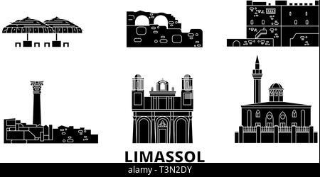 Cyprus, Limassol flat travel skyline set. Cyprus, Limassol black city vector illustration, symbol, travel sights, landmarks. - Stock Photo