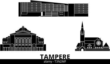 Finland, Tampere flat travel skyline set. Finland, Tampere black city vector illustration, symbol, travel sights, landmarks. - Stock Photo