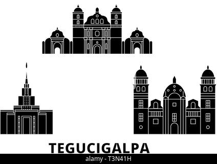 Honduras, Tegucigalpa flat travel skyline set. Honduras, Tegucigalpa black city vector illustration, symbol, travel sights, landmarks. - Stock Photo