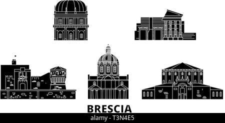 Italy, Brescia flat travel skyline set. Italy, Brescia black city vector illustration, symbol, travel sights, landmarks. - Stock Photo
