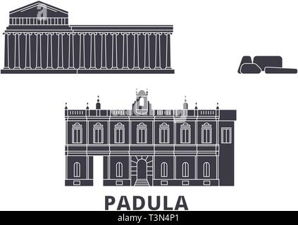 Italy, Padula  flat travel skyline set. Italy, Padula  black city vector illustration, symbol, travel sights, landmarks. - Stock Photo
