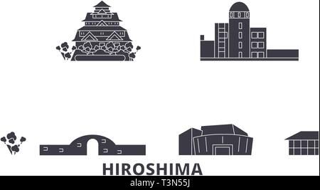 Japan, Hiroshima flat travel skyline set. Japan, Hiroshima black city vector illustration, symbol, travel sights, landmarks. - Stock Photo