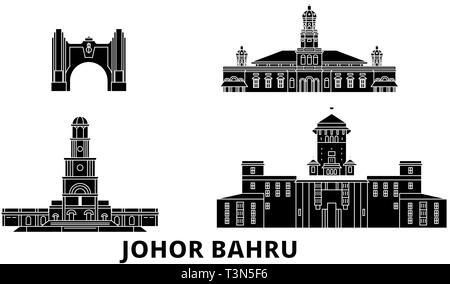 Malaysia, Johor Bahru flat travel skyline set. Malaysia, Johor Bahru black city vector illustration, symbol, travel sights, landmarks. - Stock Photo