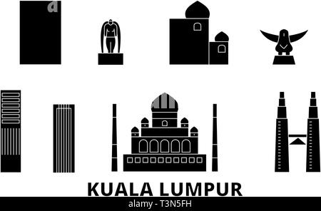 Malaysia, Kuala Lumpur flat travel skyline set. Malaysia, Kuala Lumpur black city vector illustration, symbol, travel sights, landmarks. - Stock Photo