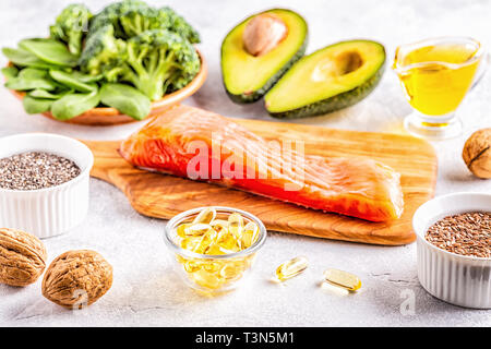Animal and vegetable sources of omega-3 acids. Balanced diet concept. - Stock Photo