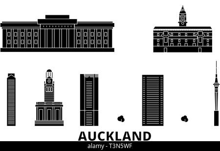 New Zealand, Auckland flat travel skyline set. New Zealand, Auckland black city vector illustration, symbol, travel sights, landmarks. - Stock Photo