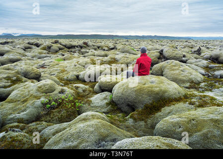 Traveler in a red jacket sits on a moss. Lava field on the south coast of Iceland, Europe. Tourist attraction. Amazing in nature. Cloudy summer day - Stock Photo