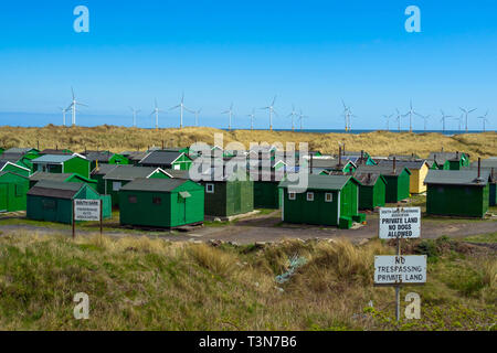 Notice South Gare Fisherman's Huts Association at Teesmouth, Redcar England UK England UK - Stock Photo