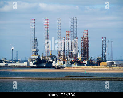 Jack Up drilling rigs at the TERRC Hartlepool  facility on the river Tees for storage  and repair - Stock Photo